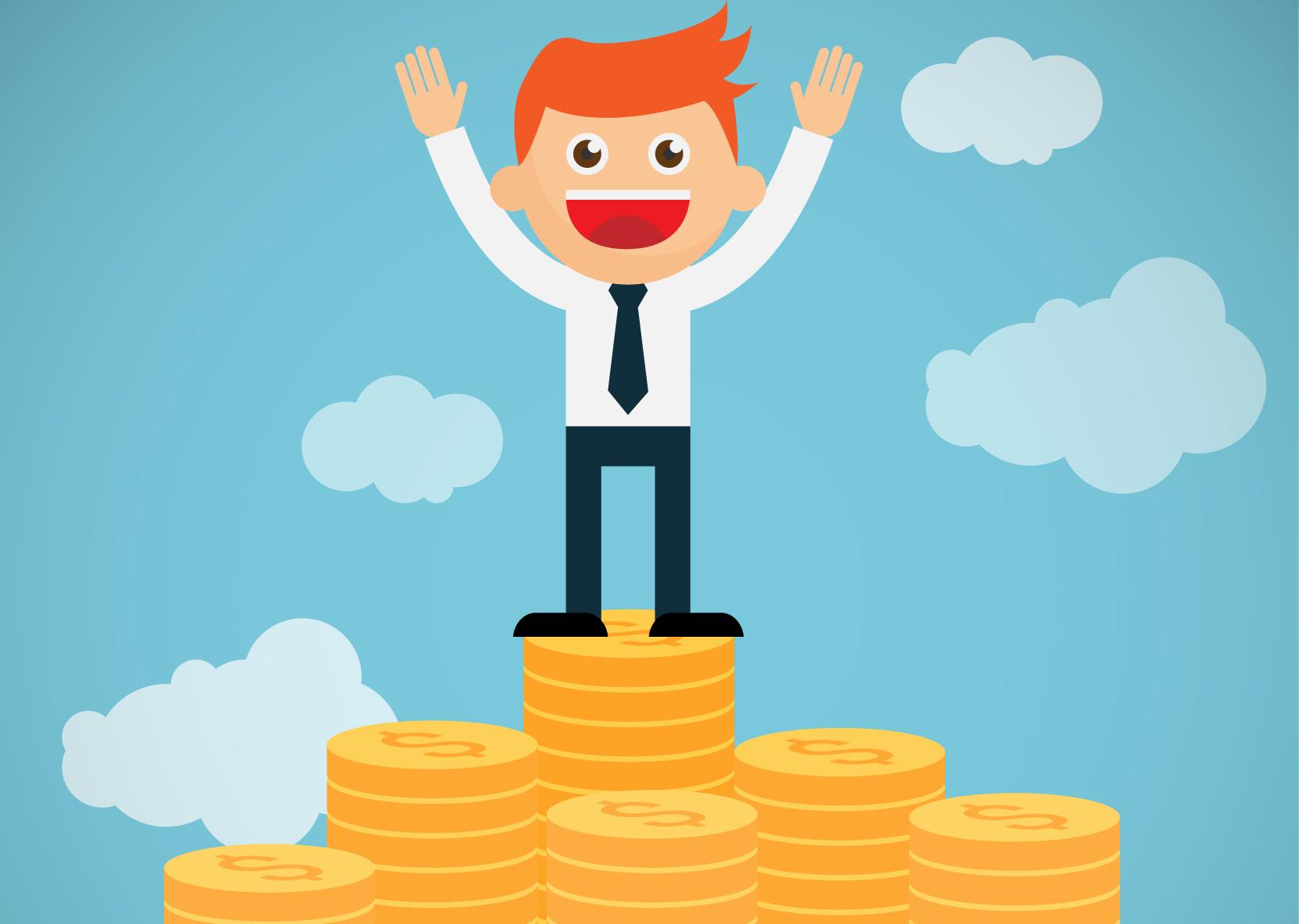 Finans illustrasjon mann på haug med penger